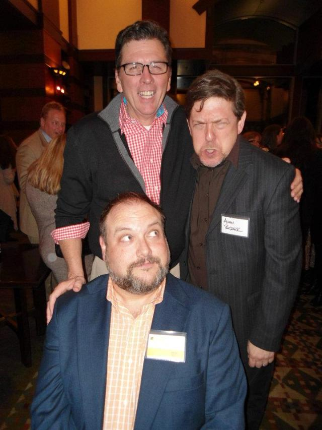 PGAV Destination's Al Cross consoling Adam Bezark, who seems to be upset at Dave Cobb at last year's TEA Summit/Thea Awards. Photo from TEA's facebook page, used here blogger style.