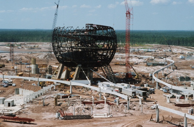 The adamantine giant golf ball of Epcot Center, Spaceship Earth, in summer 1980.  The park opened October 1, 1982.