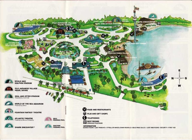 Map of Sea World of Florida, 1980.  This would have been the park as encountered by a six year old John Hargrove on his first visit.  Note no Shamu Stadium to be seen during that visit as described in